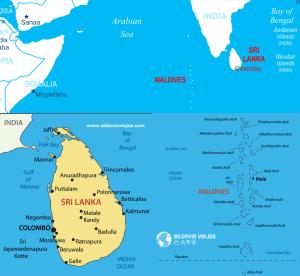 Mapa Sri Lanka y Maldivas