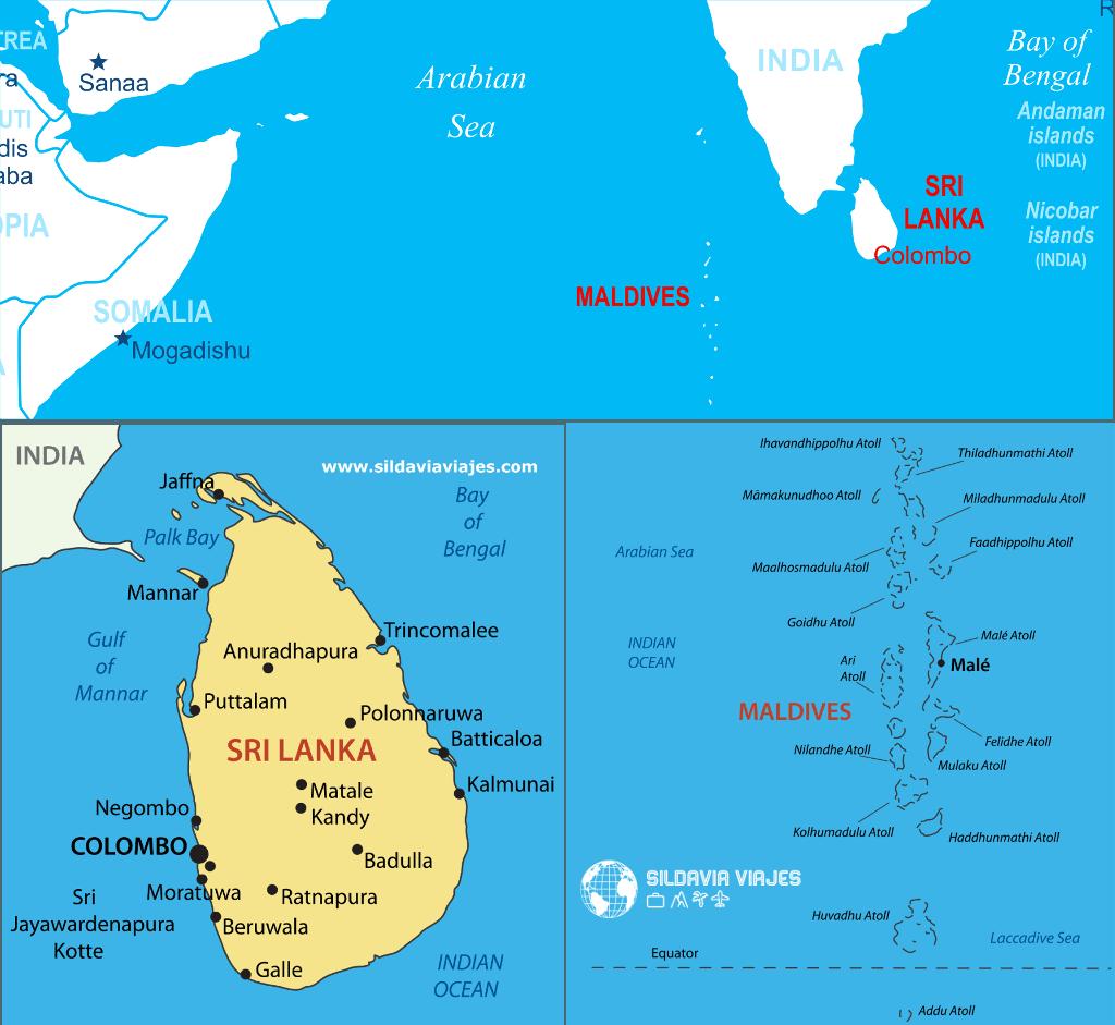 Maldivas Mapa y Sri Lanka