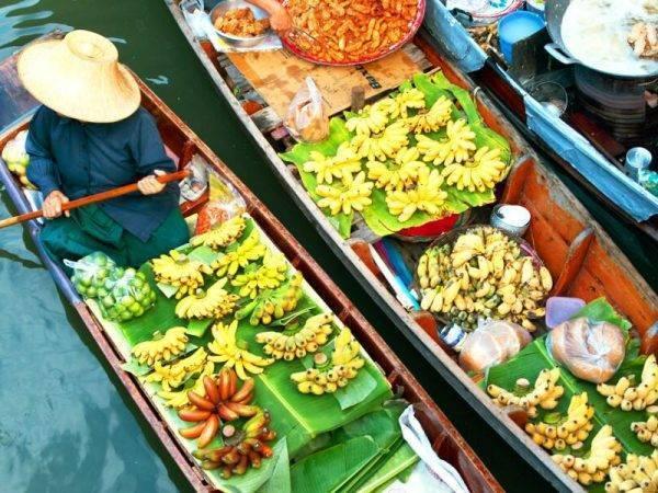 Viajes de aventura en Tailandia - Mercado flotante