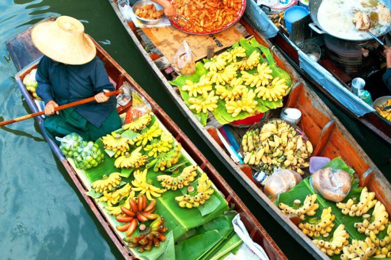 viajes tailandia, bangkok, mercado flotante
